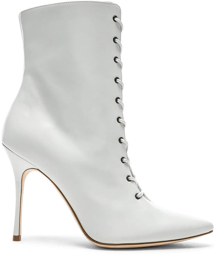Manolo Blahnik Leather Bordin Booties in White | FWRD